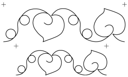 Quilting Full Line Stencil HEARTS /& LOOPS Reusable for Quilts use Pounce A3 New