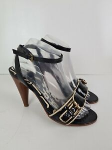 Marc-by-Marc-Jacobs-Leather-Open-Tow-Buckle-Strappy-Cone-High-Heel-Women-039-s-EUR38