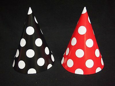 16 Lot Black & Red Mickey Minnie Mouse Polka Dots Party Cone Hats Lady Bug