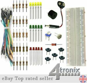 Starter-Kit-Breadboard-Jumper-Wires-LEDs-Resistors-etc-without-Arduino