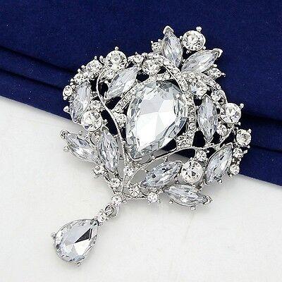 Large 9.5cm Sliver Crystal Rhinestone Brooch Pin DIY Wedding Bridal Bouquet B001
