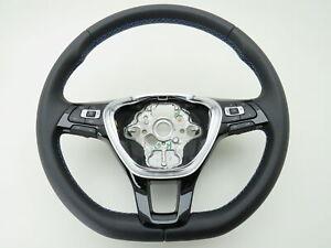 Original-Vw-Cuir-Volant-Multi-fonction-MFL-VW-Passat-3-G-b8-GTE-Hybride-Bleu-Couture