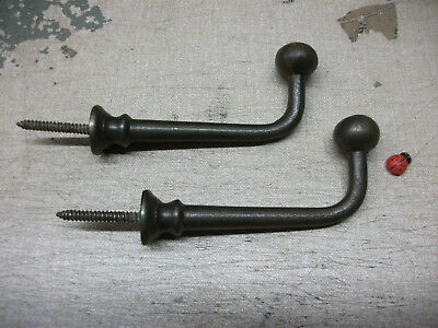 Pair Screw In Ball Tip Hook Industrial Or Traditional Look Cast Iron Ebay