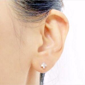 Image Is Loading Silver X Earrings Cross Studs