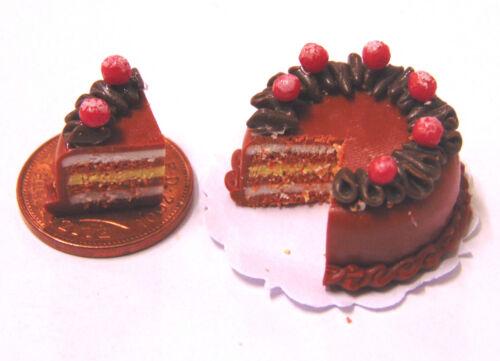 Escala 1:12 Pastel de capa de chocolate en rodajas tumdee Casa De Muñecas Accesorio de Cocina SC22