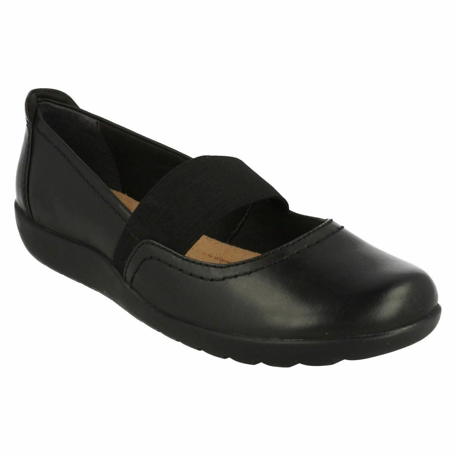 MEDORA ALLY LADIES CLARKS LEATHER MARY JANE CASUAL ELASTICATED STRAP FLAT schuhe