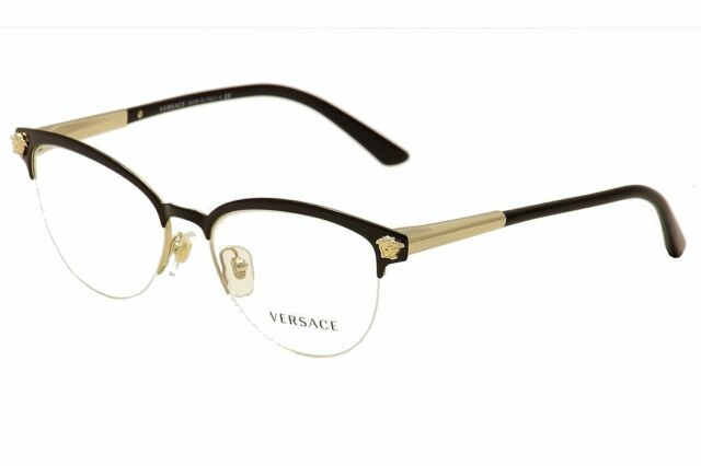 8d71cae70b Versace Eyeglasses VE1235 VE 1235 1371 Black Gold Half Rim Optical Frame  53mm