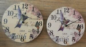 COLOURFUL HUMMING BIRD & BUTTERFLY WALL CLOCK IN 2 SHADES OF PURPLE