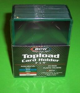 25-TOPLOAD-CARD-HOLDERS-GREEN-BORDER-FOR-TRADING-CARDS-12M-3-X-4-RIGID-PLASTIC