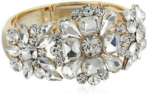 Jewelry & Watches 100% Quality New High End Luxurious Crystal-encrusted Bridal Gold Stretch Bracelet #b53198g We Take Customers As Our Gods
