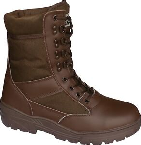 Brown Leather SIDE ZIP Army Patrol Combat Boots Tactical Cadet Military 906