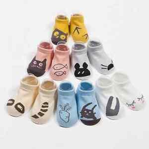 Unisex-Baby-Non-slip-Bottom-Kids-Asymmetric-Cute-Printed-Soft-Short-Cotton-Socks