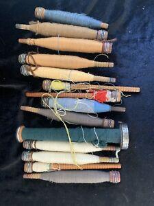Vintage-Lot-of-14-Wooden-Thread-Bobbins-Textile-Spools-W-Thread-i