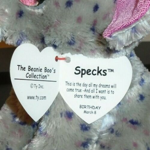 6 Inch Ty Beanie Boos ~ SPECKS the Elephant NEW MWMT