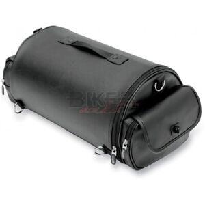 Dettagli su Borsa pelle sissy bar schienale posteriore rullo rotolo moto custom Harley