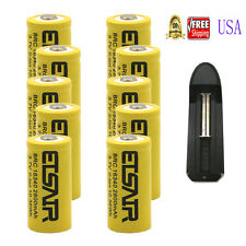 10x 3.7V CR123A 123A CR123 16340 2800mAh  Rechargeable Battery Cell + 1x Charger