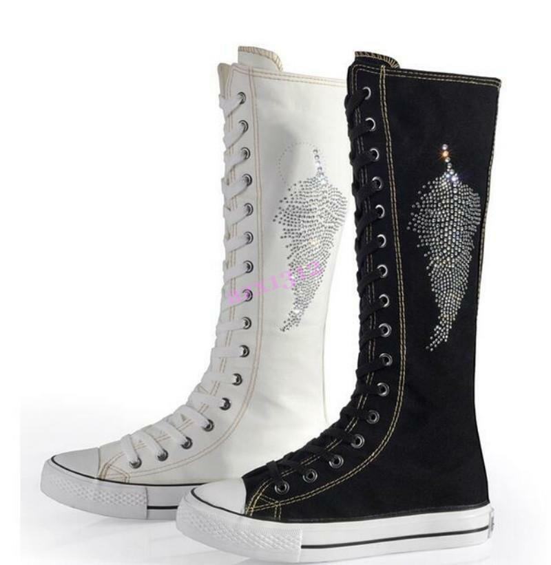 Womens Knee High Boots Canvas Casual Muffin Fashion Flats Rhinestone Lace Up HOT