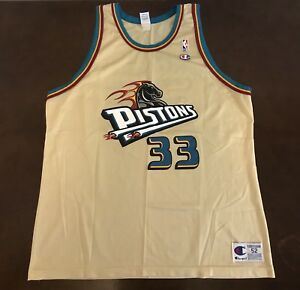 uk availability 12c19 aacf0 Details about Rare Vintage Champion NBA Detroit Pistons Grant Hill Gold  Basketball Jersey