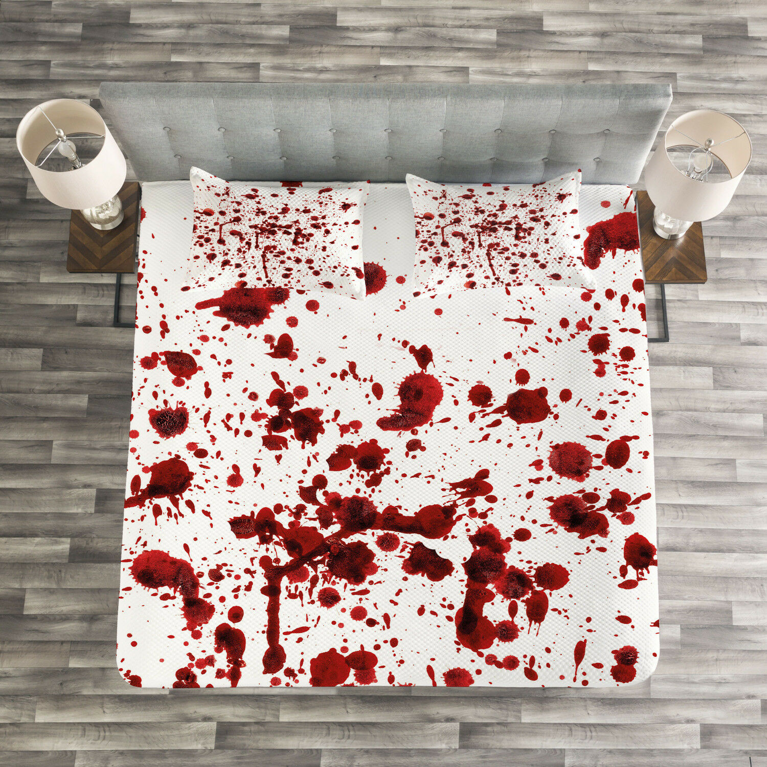 Bloody Quilted Bedspread & Pillow Shams Set, Splashes of Blood Scary Print