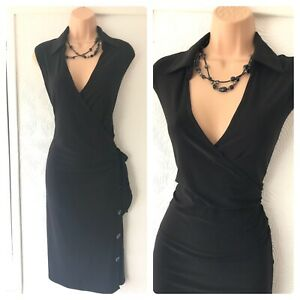 Joseph Ribkoff Collared Black Button Side Details Stretchy Dress Size 16 Ebay