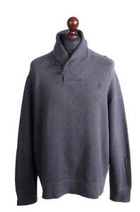 Herren Ralph Lauren Polo grau 100% Baumwolle Schalkragen Knopfleiste Pullover Größe XL