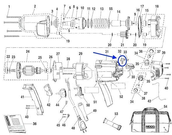 s l640 hom 342708001 ridgid r6300 impact wrench switch actuator ebay
