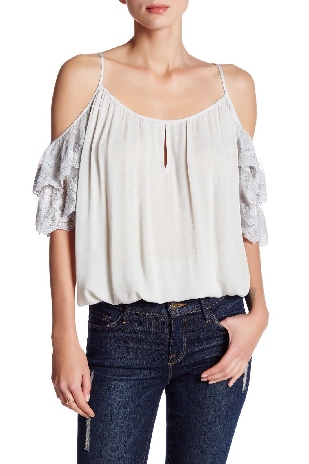Liberty Garden Floral Lace Cold Shoulder Top   Ruffled bluee Ivory XS 6ETY2972