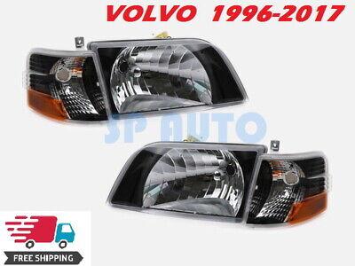 VOLVO VNL VMN 200 300 1996-2017 DAYCAB TRUCK HEADLIGHT SIGNAL CORNER SET BLACK