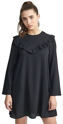 Ladies Plus Size Black Frill Detail At Front Solid Woven Swing Dress Top 16-22 Mild And Mellow