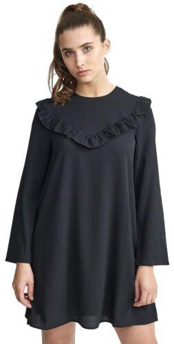 Femmes Plus Taille Noir Volants Détail At front Solide Tissé Robe Swing Top 16-22