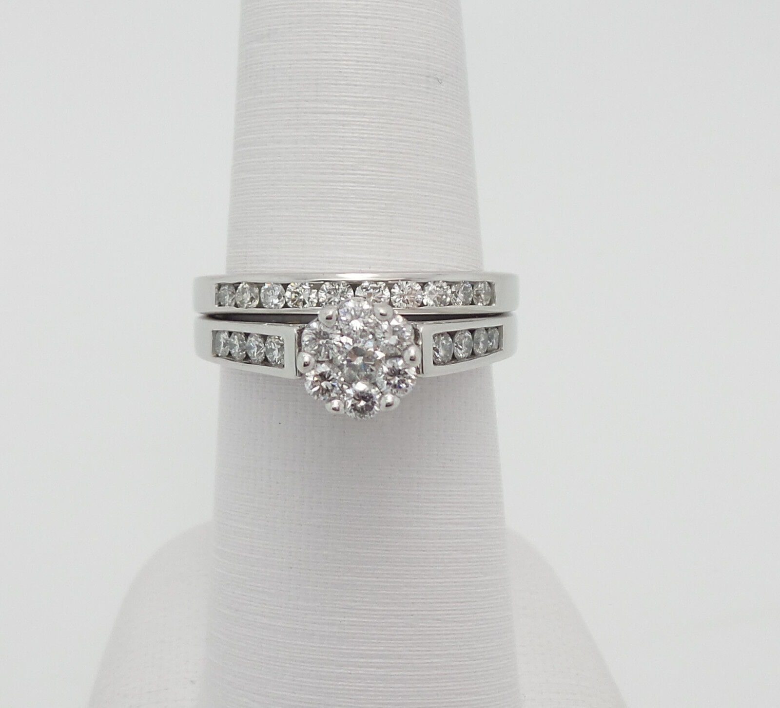 Zales 1CT Diamond Bridal Set Engagement Wedding Ring Set 14K White Gold