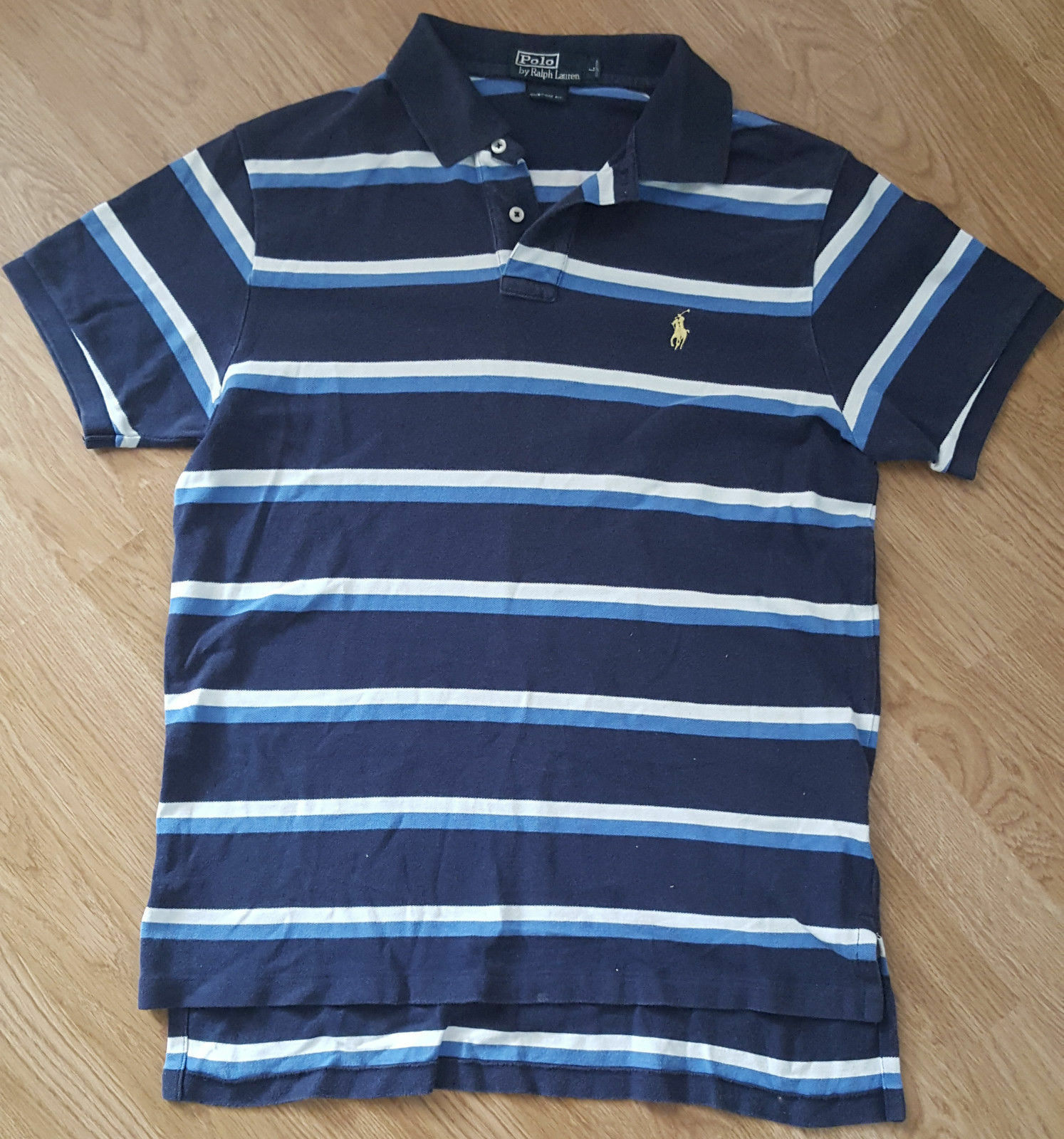 Ralph LAUREN POLO T Shirt Tee Top Maniche Corte Blu Navy A Righe Taglia L