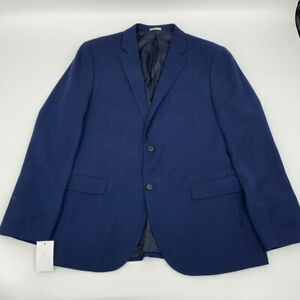 New-Nordstrom-rack-mens-jacket-blazer-navy-Sz-44R-polyester-z-603