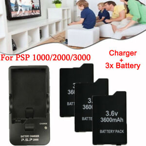 LOT-3-6V-3600mAh-Battery-Wall-Charger-for-Sony-PSP-2000-2001-1000-3000-Series