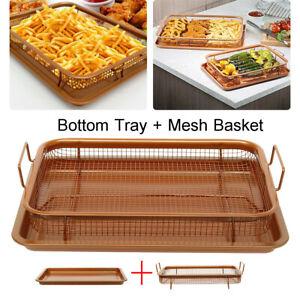 Copper-Crisper-Non-Stick-Oven-Mesh-Chips-Baking-Mesh-Basket-amp-Bottom-Tray-Rack