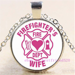 Firefighter Wife Photo Tibet Silver Cabochon Glass Pendant Chain Necklace