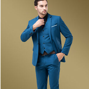 Men Lake Blue Slim Fit Men S Formal Casual Wedding Dress