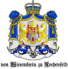 2x GRAF/GRÄFIN von WITTENSTEIN zu ROTHENFELD Adelstitel Wappen Urkunde Lord