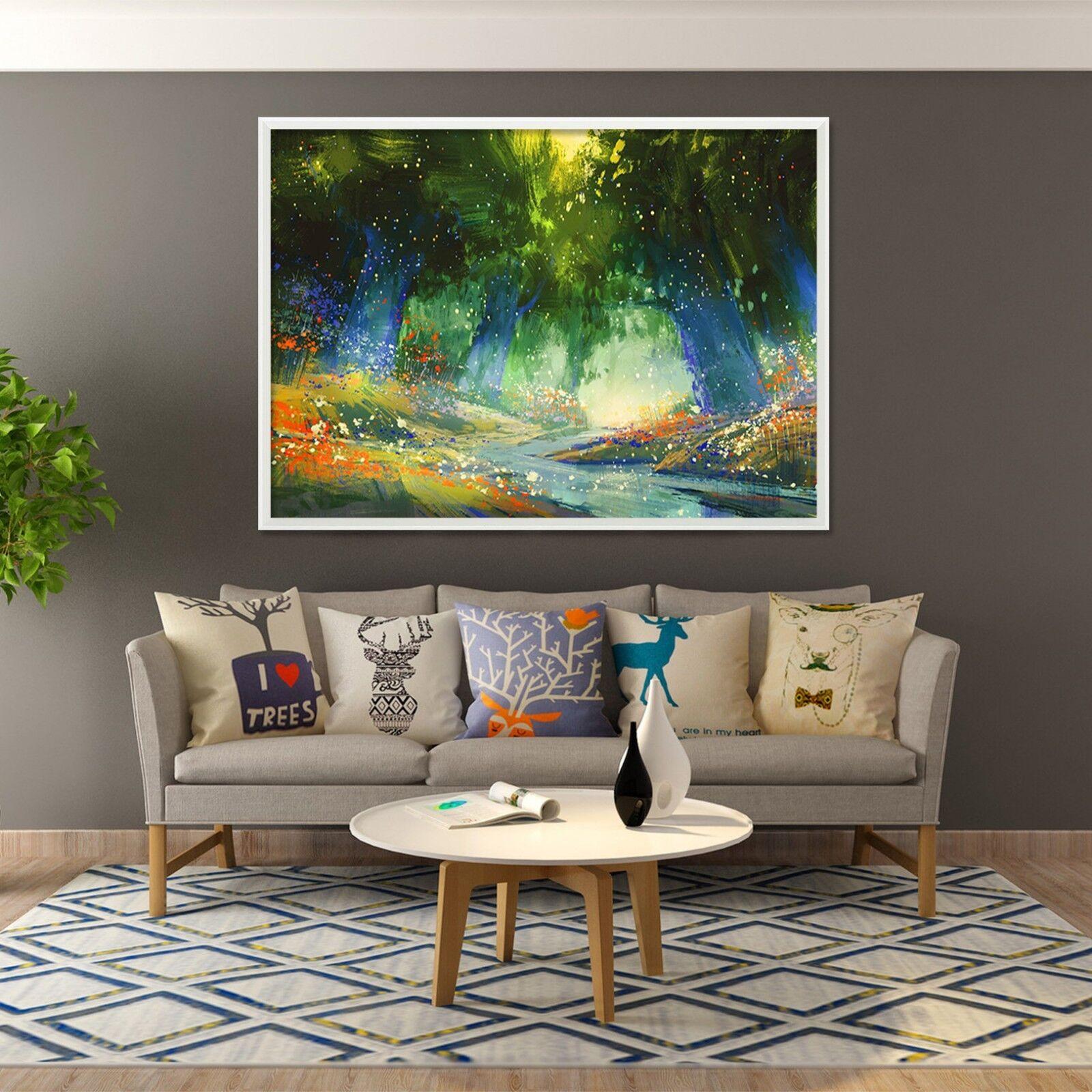 3D Pintura Bosque 2 Enmarcado Cartel Decoración del Hogar Pintura de Impresión Arte AJ Wallpaper