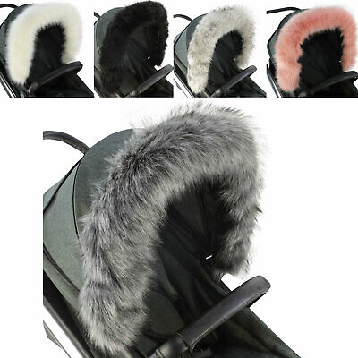 Fur Hood Trim for Pushchair Pram Car Seat Universal Handmade Baby Accessory