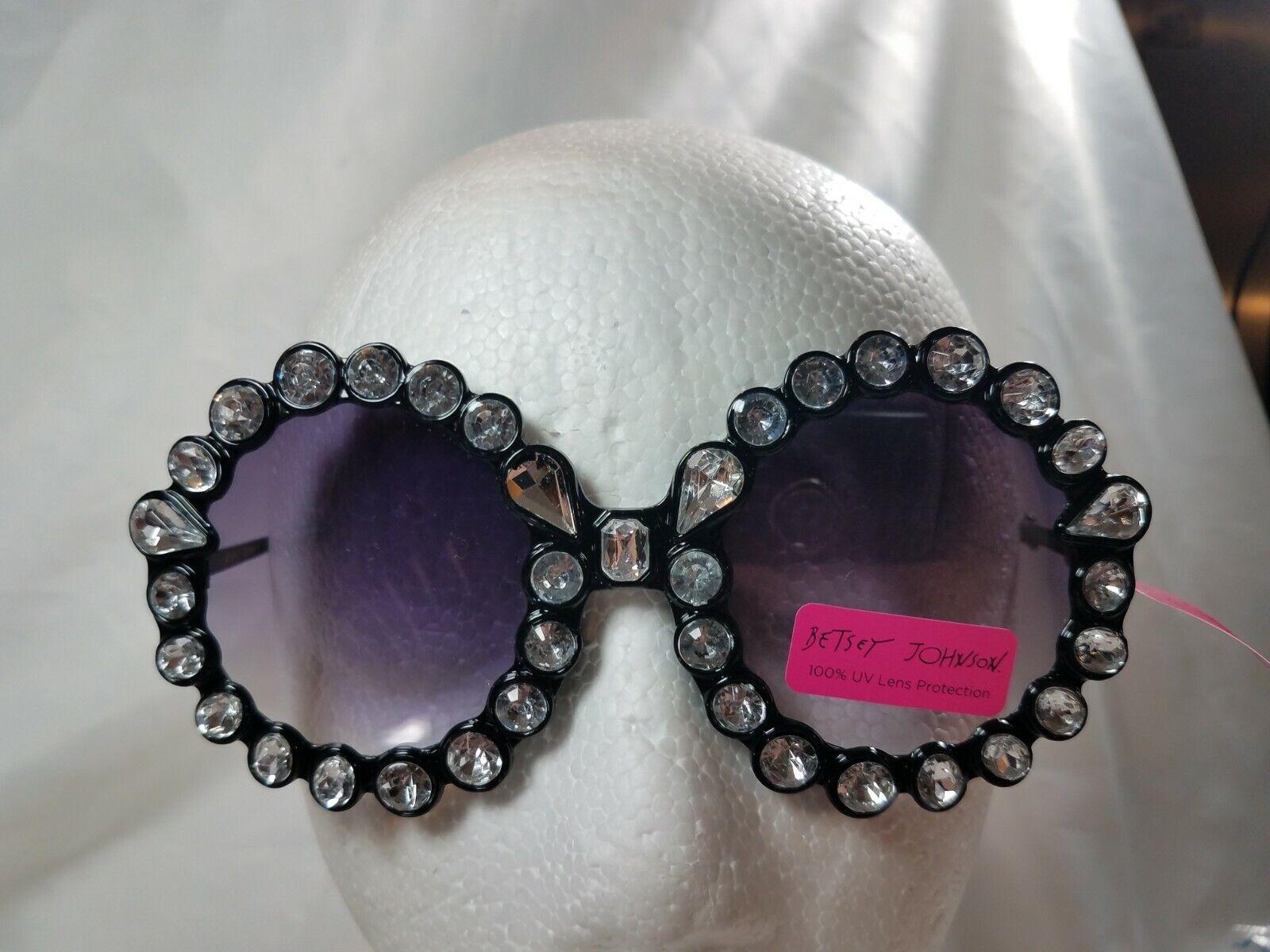 NWT Betsey Johnson oversized Round Sunglasses with Black Rhinestones