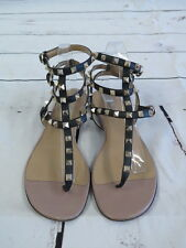 Valentino Rockstud Sandal Gladiator Size 40 Black Leather Ankle Strap Thong