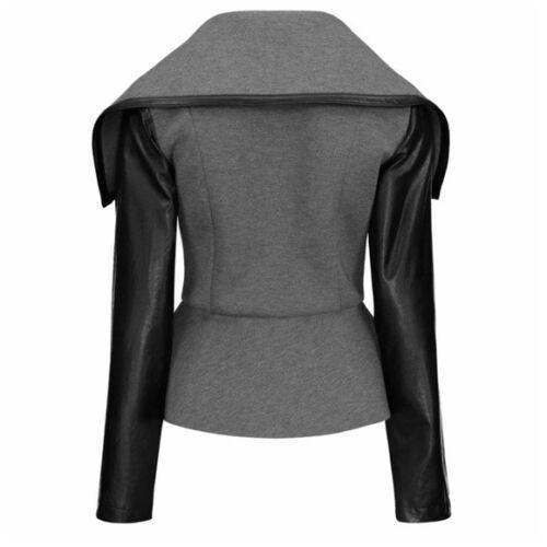 Veste polyvalent à zippé en et C84 noir végétalien asymétrique col gris à manches cuir w1fAnRx1r