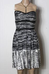 MANGO-Kleid-Gr-S-schwarz-weiss-kurz-mini-Muster-Bandeau-Corsage-Kleid
