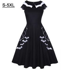 Plus Size Gothic Women Vintage Halloween Bat Rockabilly Skater Party Swing Dress