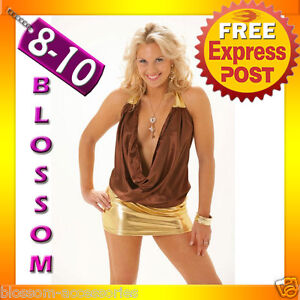 2055-Dance-Club-Wear-Party-Halter-Brown-Dress-8-10-S-M