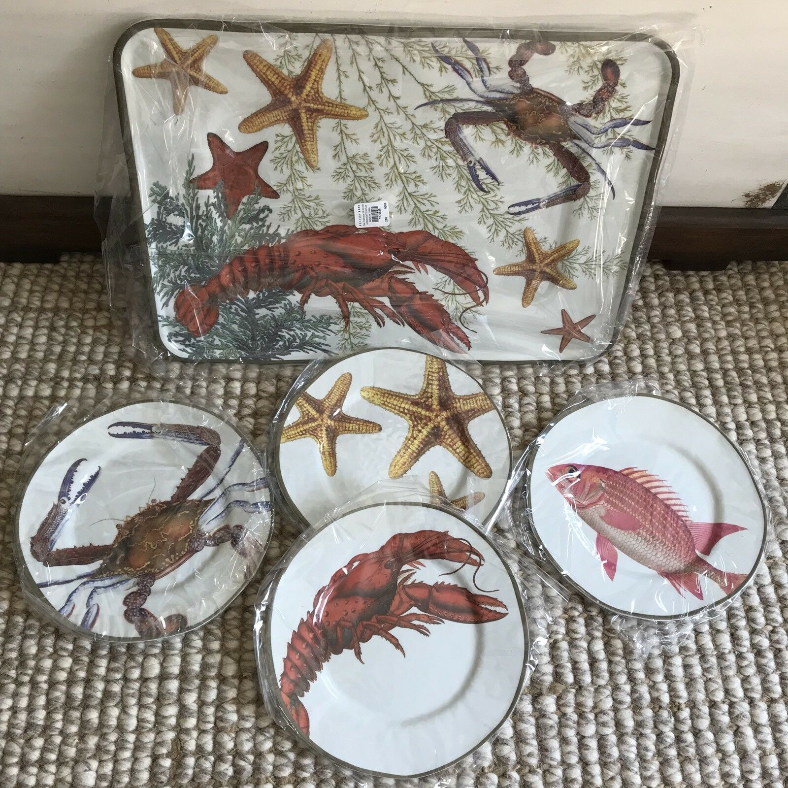 Pottery Barn 9pc Playa Ocean Critter Melamine Appetizer Lunch 8 Plates + Platter