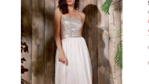Beige-Formal-Dress-Strapless-with-stretch-top-and-sequinned-net-skirt