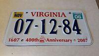 2006 07-12-84 Virginia License Plate