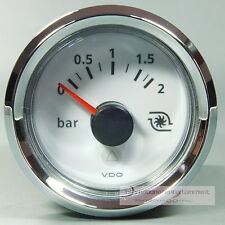 VDO VIEWLINE weiß  MANOMETER  LADEDRUCK ANZEIGE  PRESSURE GAUGE 2bar 12V  Chrom